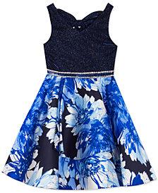Rare Editions Big Girls Glitter & Floral-Print Skater Dress