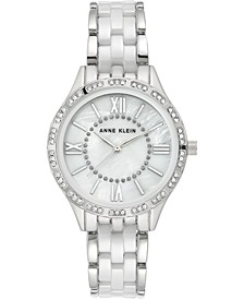 Women's Silver-Tone Ceramic Bracelet Watch 34.5mm