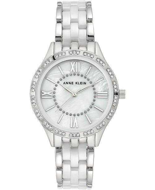 Anne Klein Women's Silver-Tone Ceramic Bracelet Watch 34.5mm