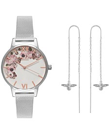 Women's Signature Floral Stainless Steel Mesh Bracelet Watch 30mm Gift Set