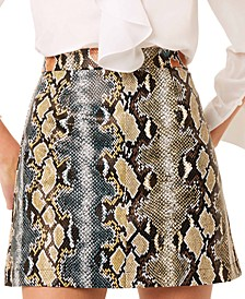 Elias Reptile Printed Leather Mini Skirt