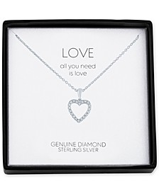 "Diamond Accent Heart 18"" Pendant Necklace in Sterling Silver"