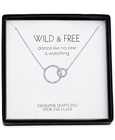 "Diamond Accent Interlocked Circle 18"" Pendant Necklace in Sterling Silver"