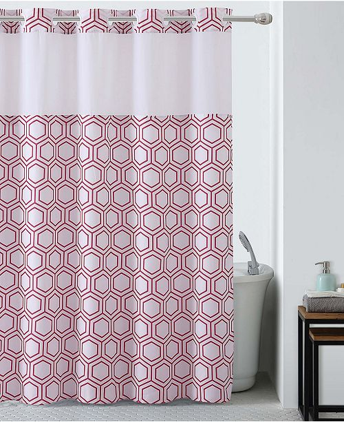 Hookless Metro Hex Shower Curtain with Peva Liner