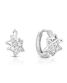 Cubic Zirconia Silver Star Huggie Hoop in Fine Silver Plate