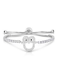 Cubic Zirconia Owl Adjustable Bolo Bracelet In Fine Silver Plate