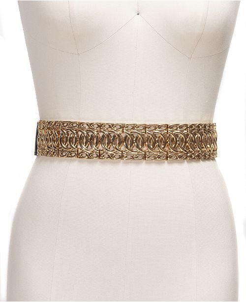 INC International Concepts INC Wide Metal Stretch Belt, Created For Macy's