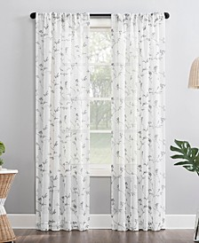 """No. 918 Delia 50"""" x 63"""" Embroidered Floral Sheer Curtain Panel"""