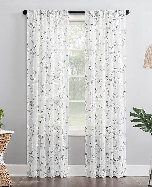 """Lichtenberg No. 918 Delia 50"""" x 63"""" Embroidered Floral Sheer Curtain Panel"""
