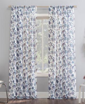 "No. 918 Sarita Floral Print 51"" x 84"" Sheer Curtain Panel"