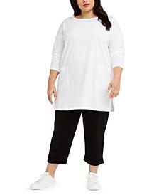 Plus Size Bateau-Neck Tunic