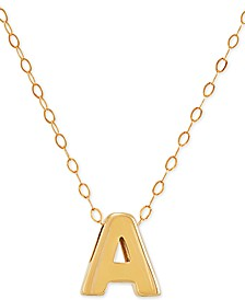 "Block Initial 17"" Pendant Necklace in 14k Gold"