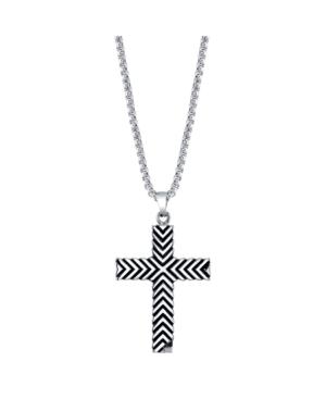 He Rocks Chevron Design Cross Pendant Necklace, 24