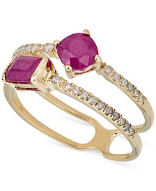Certified Ruby (1-1/10 ct. t.w.) & Diamond (1/5 ct. t.w.) Double Band Statement Ring in 14k Gold