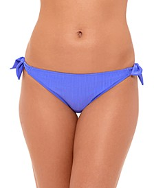 Juniors' Ribbed Side-Tie Hipster Bikini Bottoms, Created for Macy's