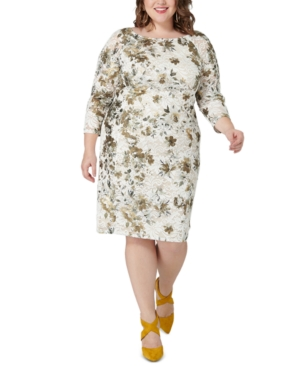 Plus Size Metallic Lace Sheath Dress