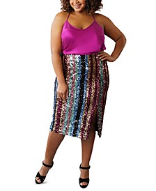 Plus Size Striped Sequined Skirt
