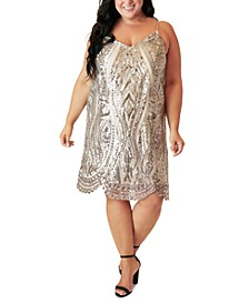 Plus Size Sequined Slip Dress