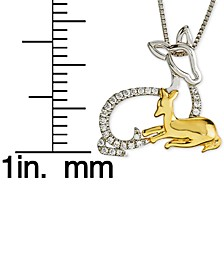 """Diamond Dear Mother & Child 18"""" Pendant Necklace (1/10 ct. t.w.) in Sterling Silver & 10k Gold"""