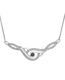 Diamond Accent Black and White Necklace in Sterling Silver