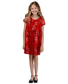 Big Girls Sequined Velvet Shift Dress