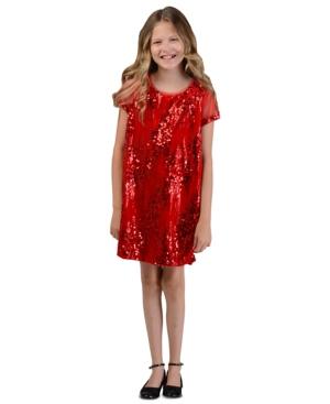 Vintage Style Children's Clothing: Girls, Boys, Baby, Toddler Bonnie Jean Big Girls Sequined Velvet Shift Dress $23.93 AT vintagedancer.com