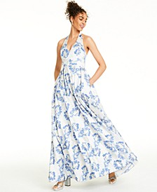 Juniors' Metallic Floral Brocade Halter Gown, Created For Macy's