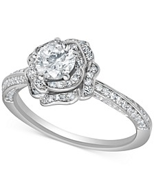 Certified Diamond Rose Engagement Ring (1 ct. t.w.) in 18k White Gold