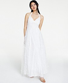 Juniors' Embroidered-Floral Halter Gown, Created for Macy's