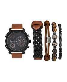 Men's Black/Brown Analog Quartz Watch And Stackable Gift Set