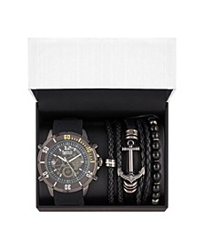 Men's Black/Grey Analog Quartz Watch And Stackable Gift Set