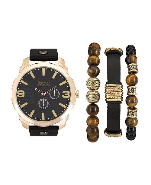 American Exchange Men's Black/Gold Analog Quartz Watch And Holiday Stackable Gift Set