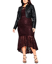 Trendy Plus Size Faux-Leather Bolero Jacket
