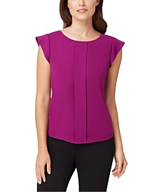 Petite Cap-Sleeve Pleat-Front Top