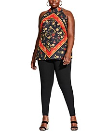 Trendy Plus Size Scarf-Print Top