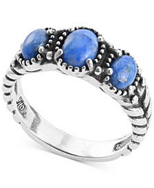 Lapis Lazuli Three Stone Statement Ring in Sterling Silver