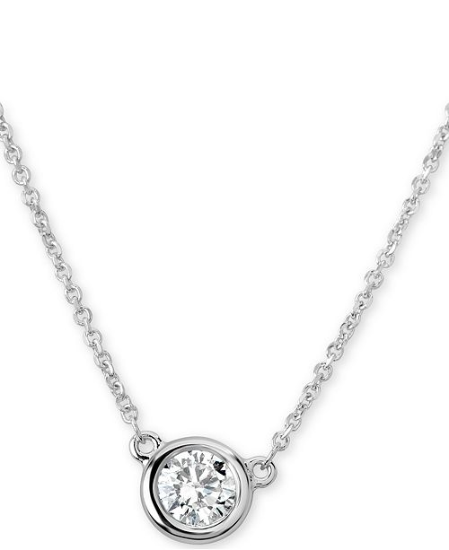 "Macy's Certified Diamond Bezel Pendant Necklace (3/8 ct. t.w.) in 14k White Gold, 16"" + 2"" extender"
