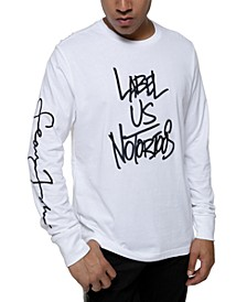 Men's Long-Sleeve Raised Embroidery T-Shirt