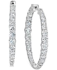 "Certified Diamond Medium Graduated In & Out Hoop Earrings (6 ct. t.w.) in 14k White Gold, 1.5"""