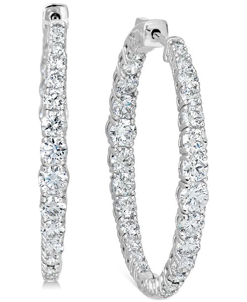 "Macy's Certified Diamond Medium Graduated In & Out Hoop Earrings (6 ct. t.w.) in 14k White Gold, 1.5"""