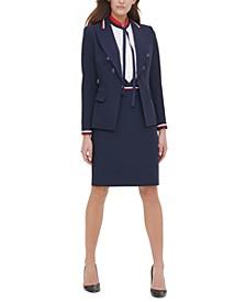 Wing-Lapel Blazer, Tie-Neck Blouse & Striped-Trim Skirt