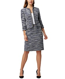 Faux-Pearl Trim Bouclé Jacket & Chain-Belt Pencil Skirt