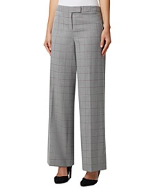 Windowpane Plaid Wide-Leg Trousers