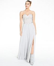 Juniors' Strapless Corset-Back Gown