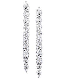 Cubic Zirconia Linear Drop Earrings in Sterling Silver