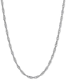 "Singapore Link 20"" Chain Necklace in Sterling Silver"