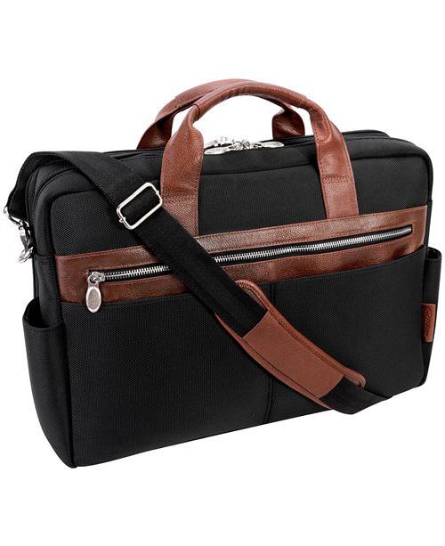 "McKlein Southport 17"" Nylon Dual-Compartment Laptop Tablet Briefcase"