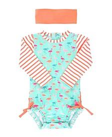 Baby Girls Long Sleeve Rash Guard Swimsuit Swim Headband Set