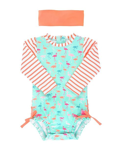 RuffleButts Baby Girls Long Sleeve Rash Guard Swimsuit Swim Headband Set