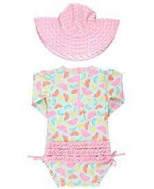 Baby Girl's Long Sleeve Rash Guard Swimsuit Swim Hat Set